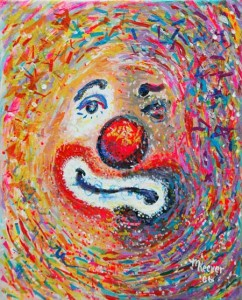 impressionist painting of clown
